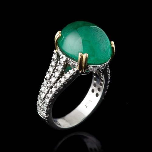 10.5 Carat Colombian Emerald Cabachon and Diamond Ring