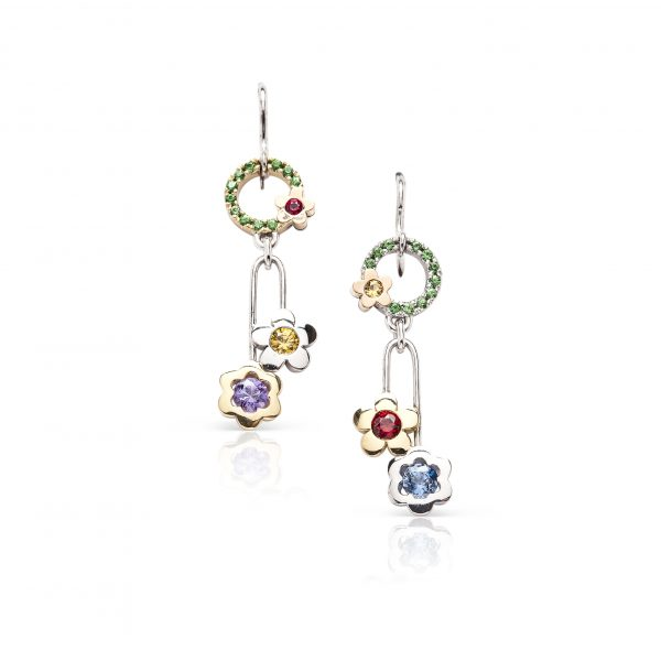 18ct gold multi coloured flower earrings