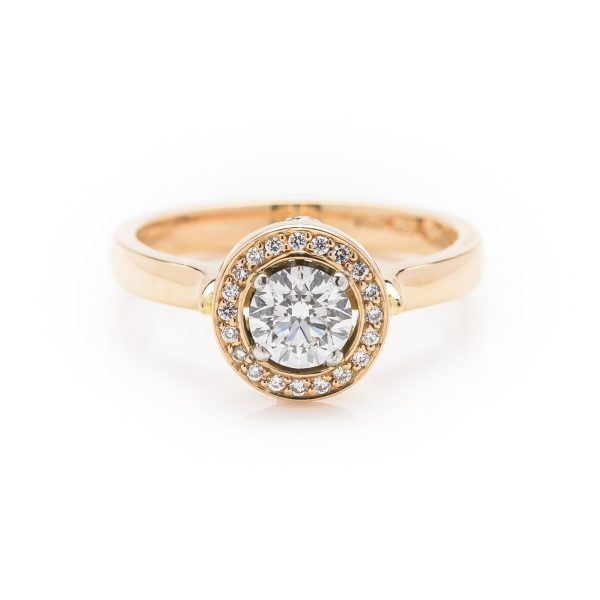 18ct rose gold diamond cluster engagement ring