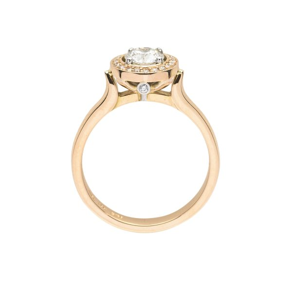 18ct rose gold diamond cluster engagement ring - side view