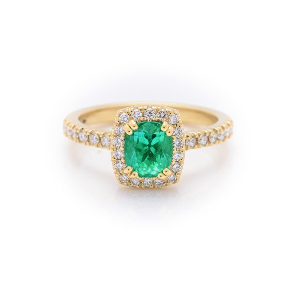 18ct yellow gold colombian emerald and diamond dress ring
