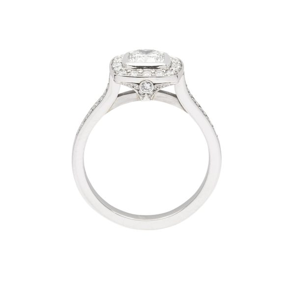 Cushion cut diamond and platinum engagement ring - side view