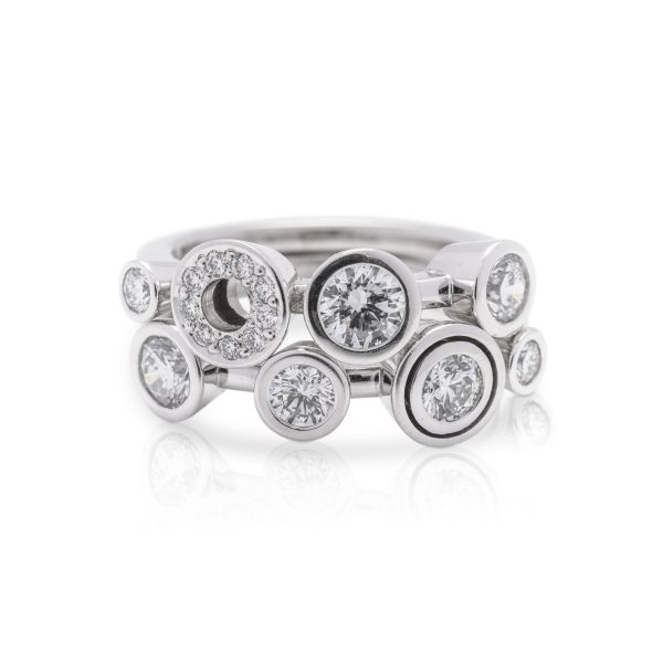Double band diamond dress ring made in platinum from the cabonated collection