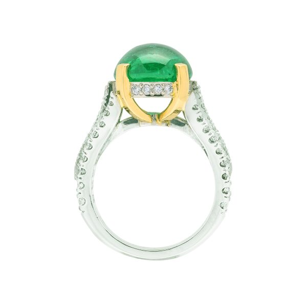 Hand made platinum and 18ct yellow gold diamond and cabachon colombian emerald dress ring - side view