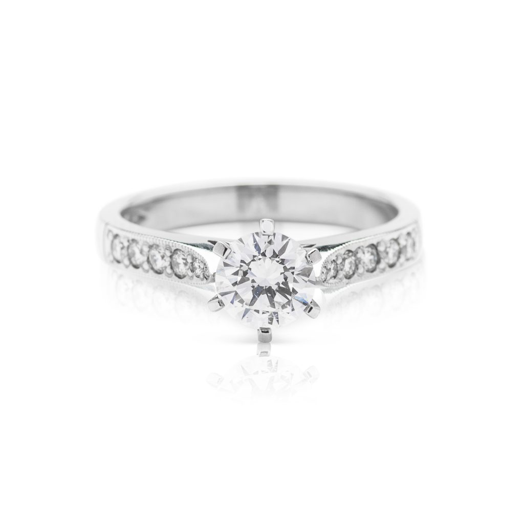 Modern 6 claw platinum split band diamond solitaire engagement ring