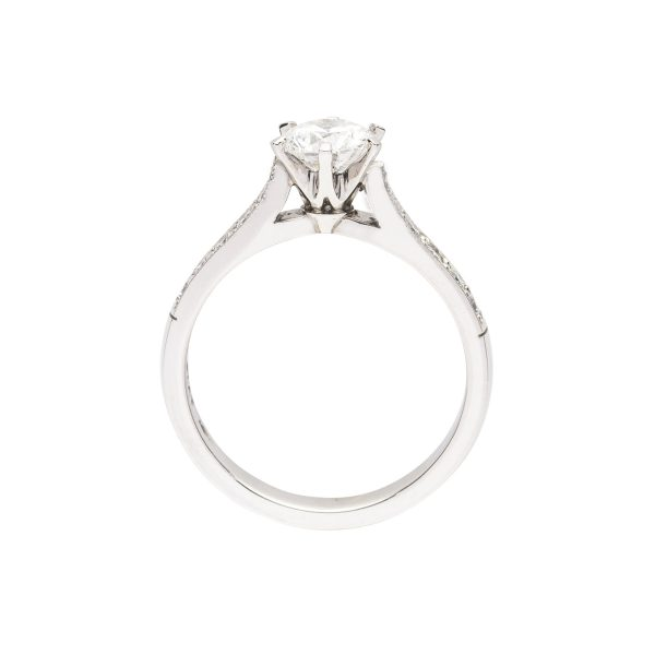 Modern 6 claw platinum split band diamond solitaire engagement ring - side view