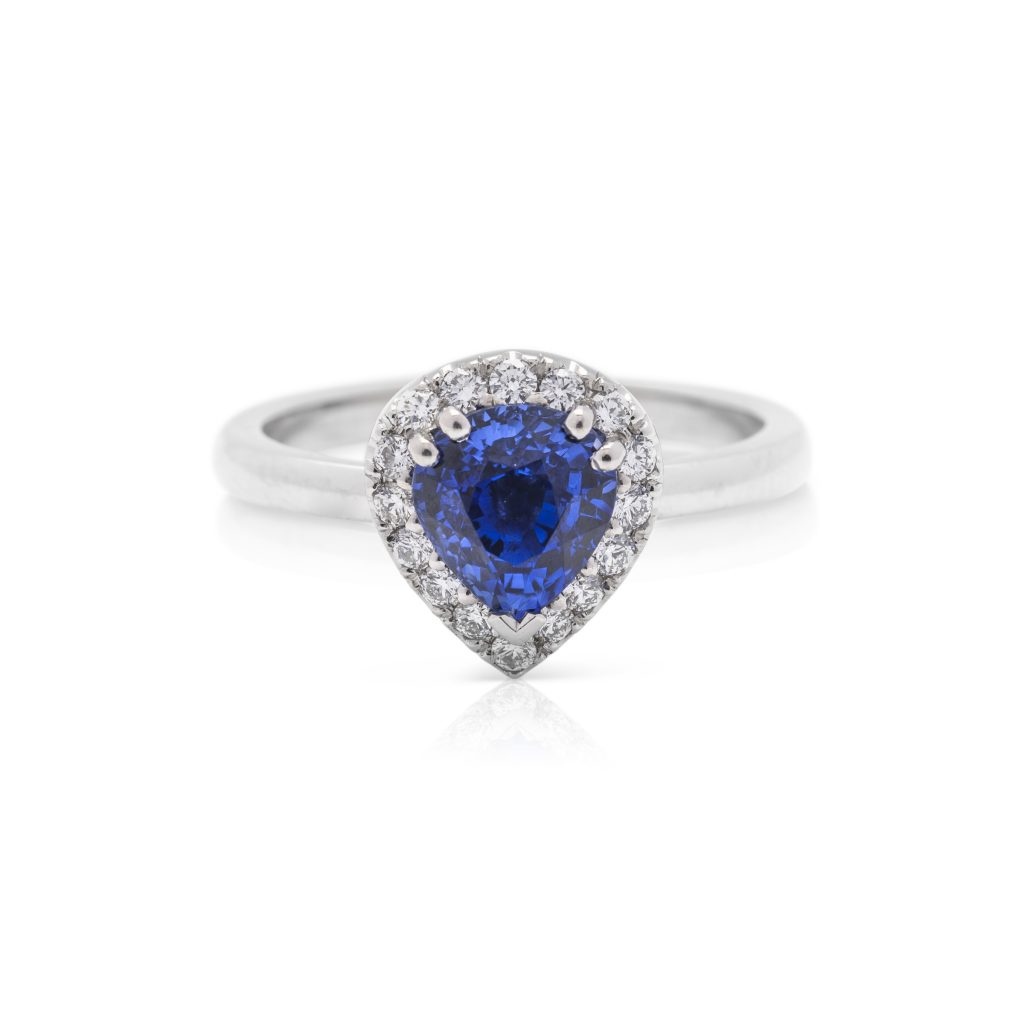 Platinum diamond and pear shaped ceylon sapphire hand made dress ring