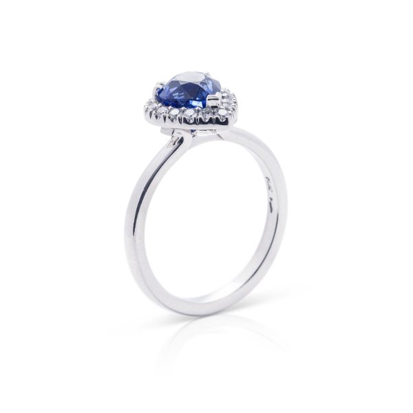 Platinum diamond and pear shaped ceylon sapphire hand made dress ring - 3 quarter view1