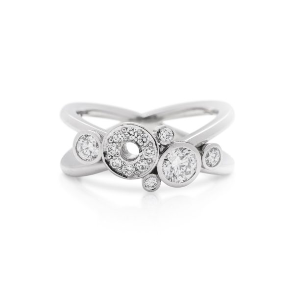 Platinum diamond crossover dress ring, carbonated ring