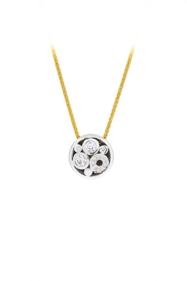 18ct gold round carbonated pendant set with diamonds