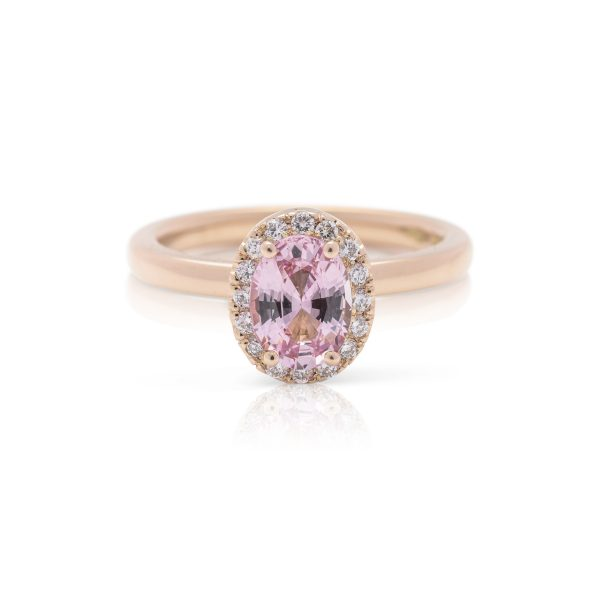 18ct rose gold diamond and padparadscha sapphire hand made dress ring