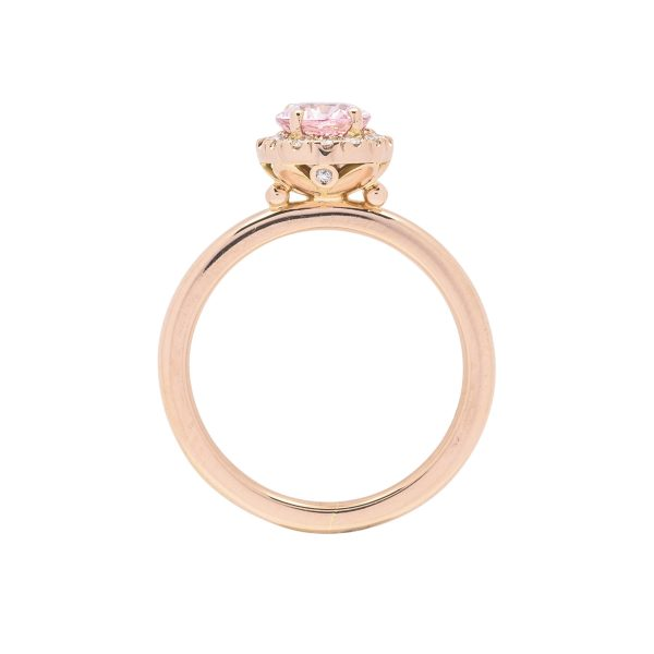 18ct rose gold diamond and padparadscha sapphire hand made dress ring - side view