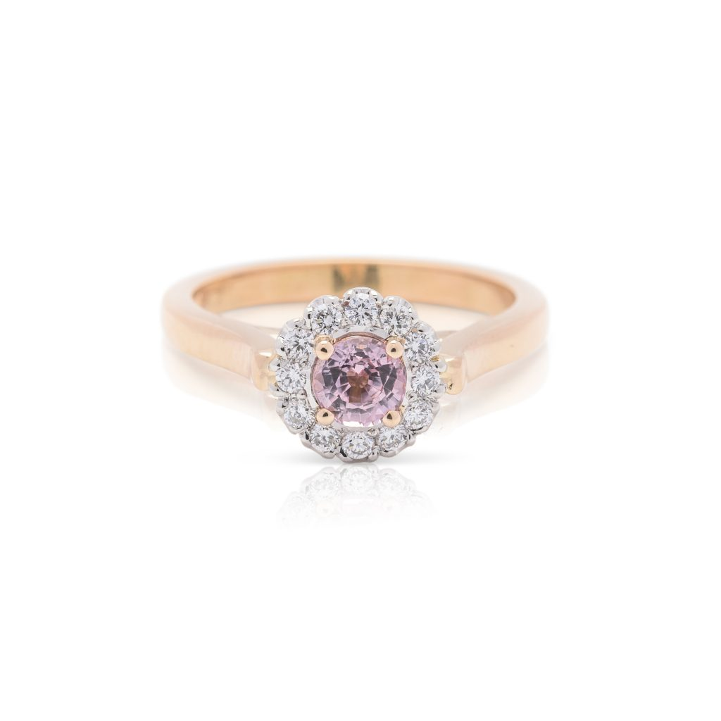 18ct rose gold platinum diamond and pink sapphire hand made dress ring