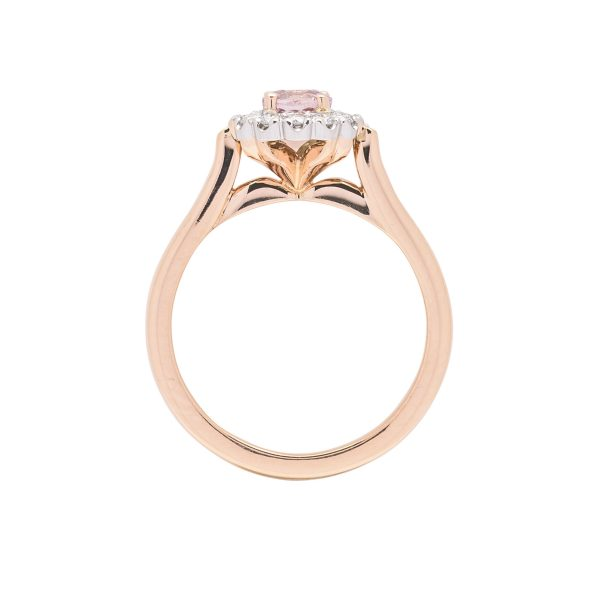 18ct rose gold platinum diamond and pink sapphire hand made dress ring - side view