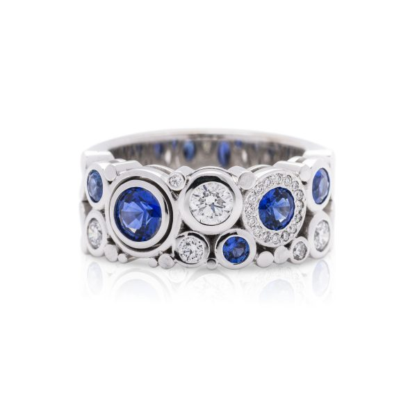 18ct white gold ceylon sapphire and diamond dress ring, wide carbonated dress ring