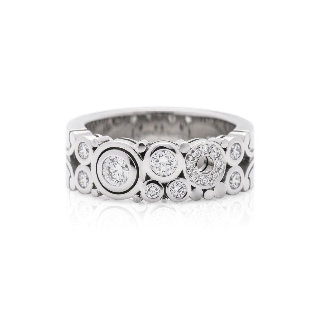18ct white gold diamond dress ring, Narrow carbonated diamond ring