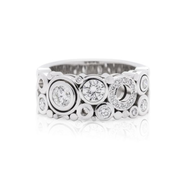 18ct white gold diamond dress ring, wide carbonated dress ring