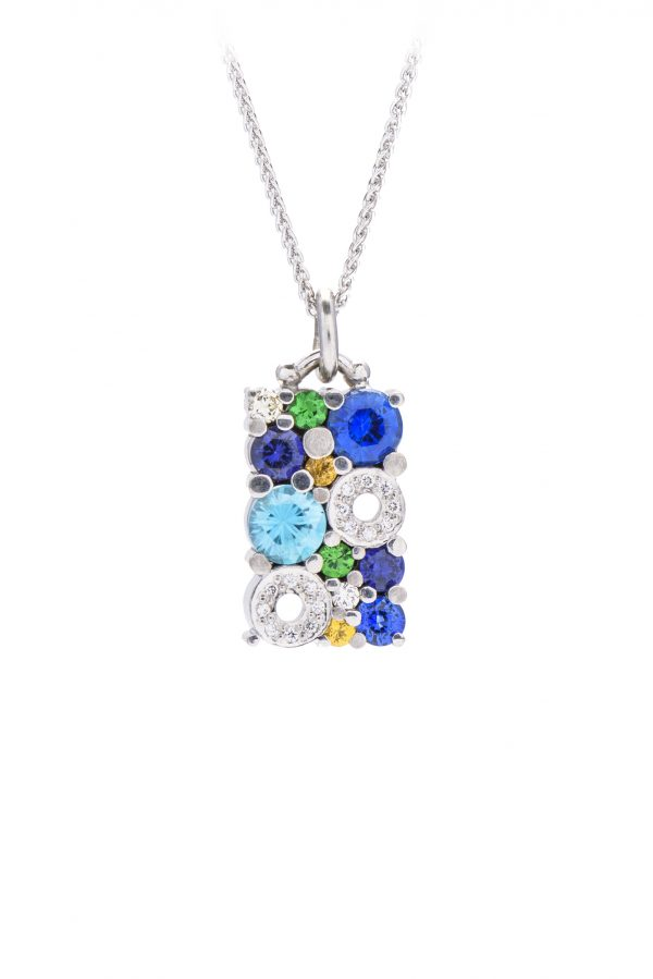 18ct white gold multi coloured cabonated pendant