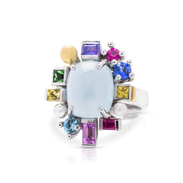 18ct white gold multi coloured cocktail dress ring