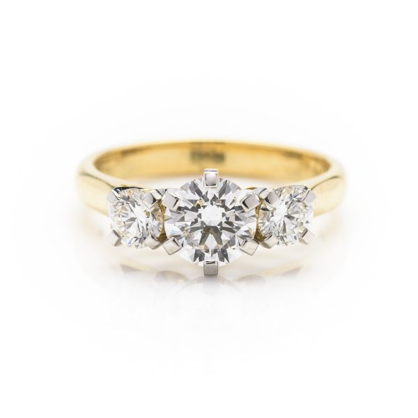 18ct yellow gold and platinum 3 stone diamond engagement ring