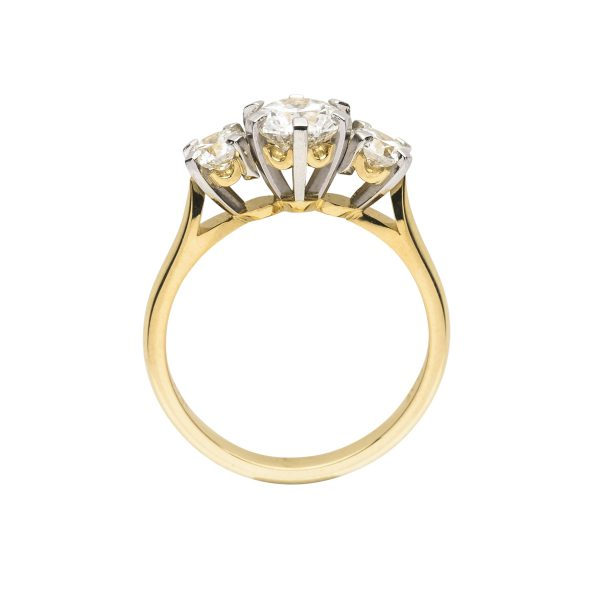 18ct yellow gold and platinum 3 stone diamond engagement ring - side view