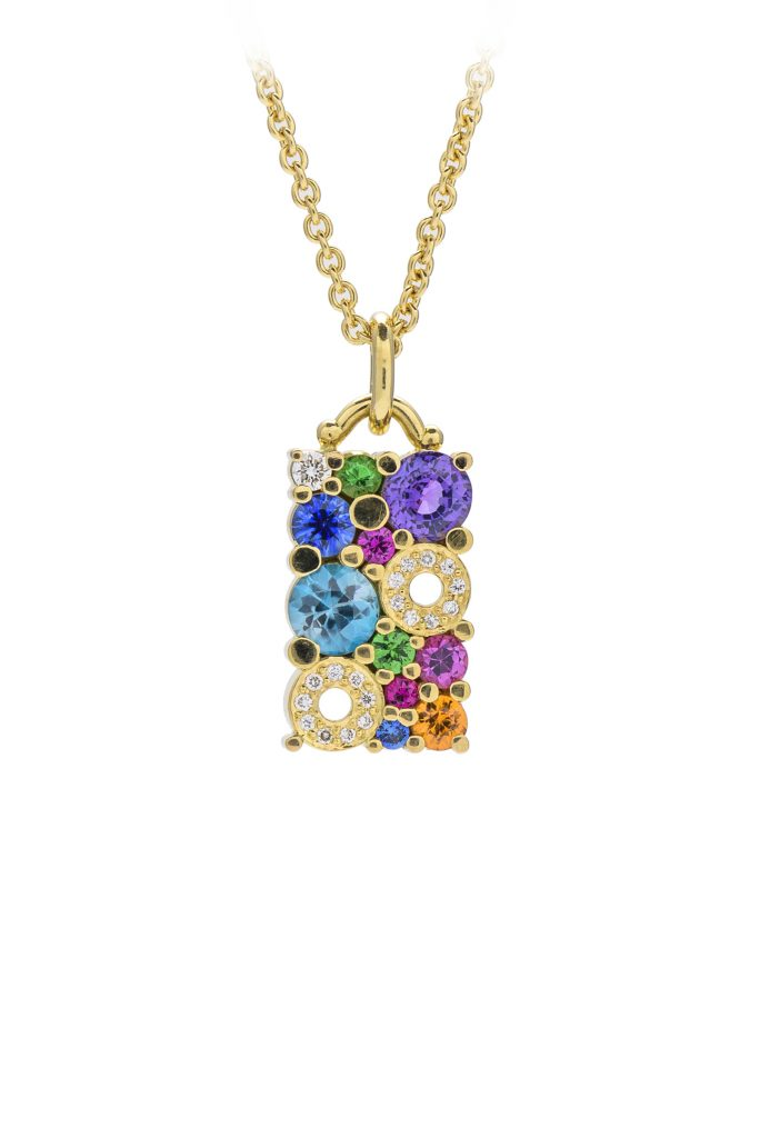 18ct yellow gold multi coloured cabonated pendant
