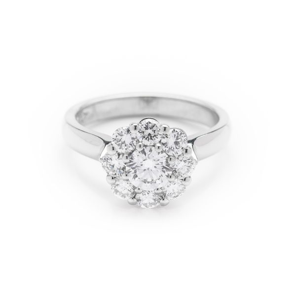 9 stone Diamond platinum wire cluster engagement ring