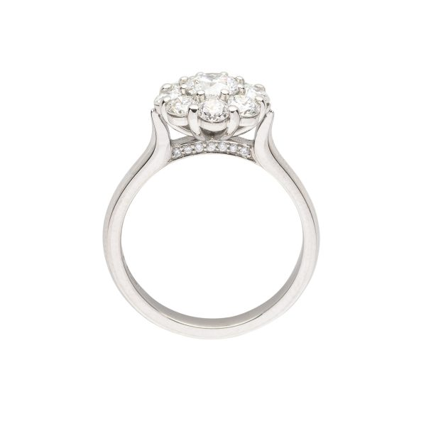 9 stone Diamond platinum wire cluster engagement ring - side view