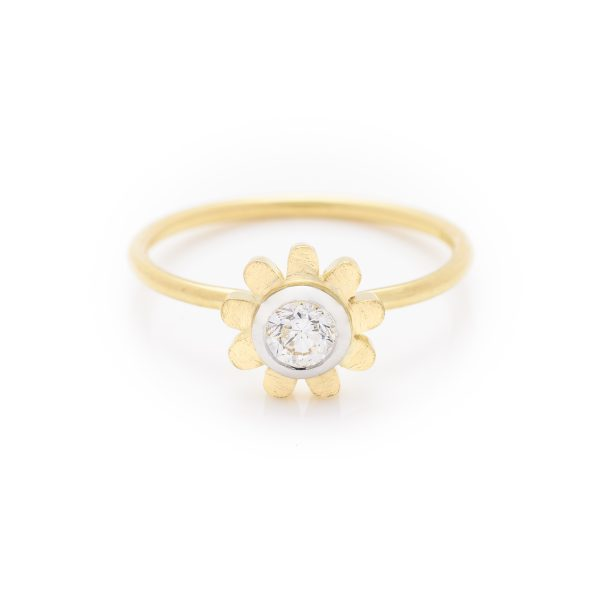 Diamond dress ring made in 18ct yellow gold. From our flowers collection
