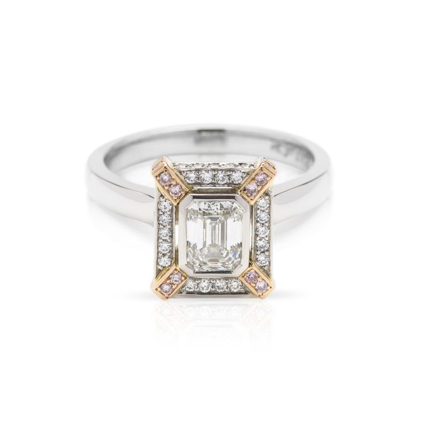 Emerald cut Diamond Platinum engagement ring with Pink diamond accents