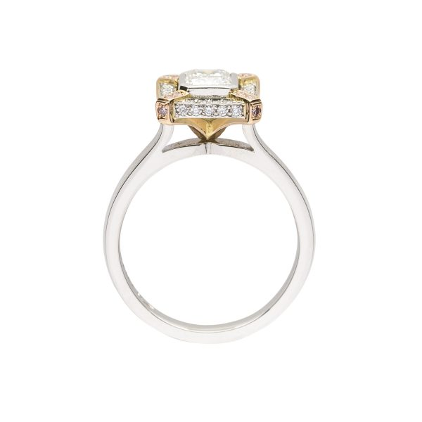 Emerald cut Diamond Platinum engagement ring with Pink diamond accents - side view