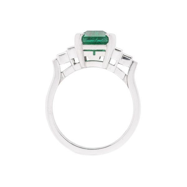Hand made platinum diamond and colombian emerald cut dress ring - side view