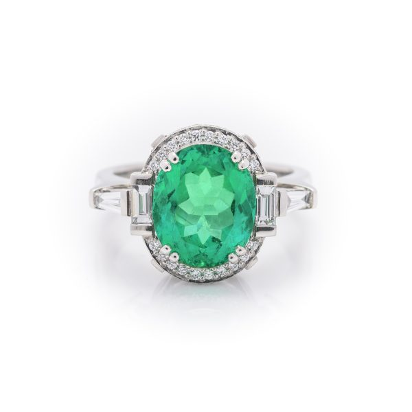 Hand made platinum diamond and oval colombian emerald dress ring