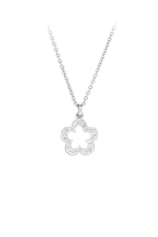 Open diamond flower penant made in 18ct white gold