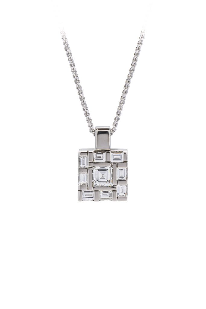 Platinum baguette and carrie cut diamond. Water style pendant