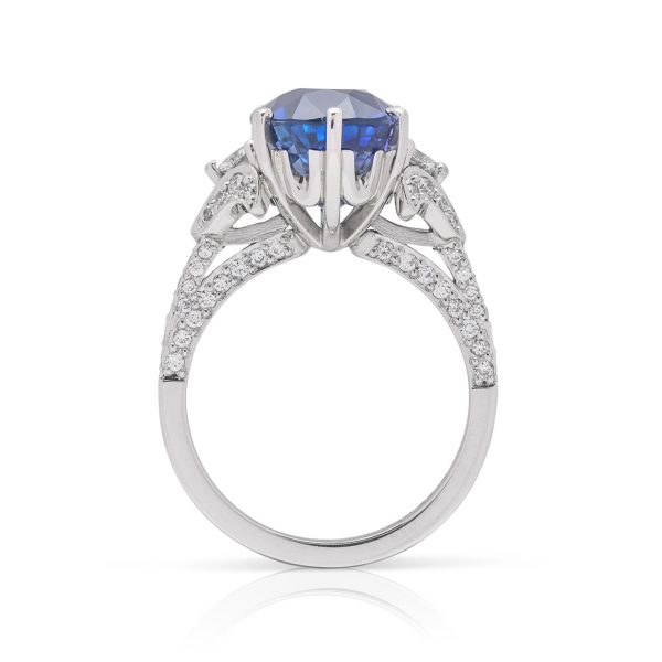 Platinum diamond and oval shaped ceylon sapphire hand made dress ring - side view