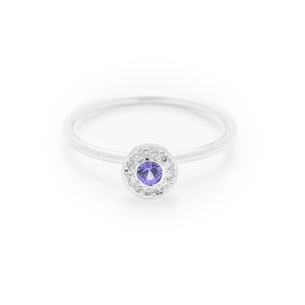 Purple sapphire diamond dress ring made in 18ct white gold. From our flowers collection