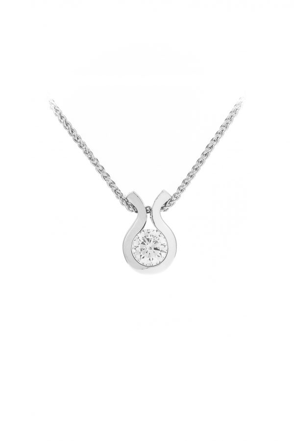 Simple diamond pendant made in 18ct white gold