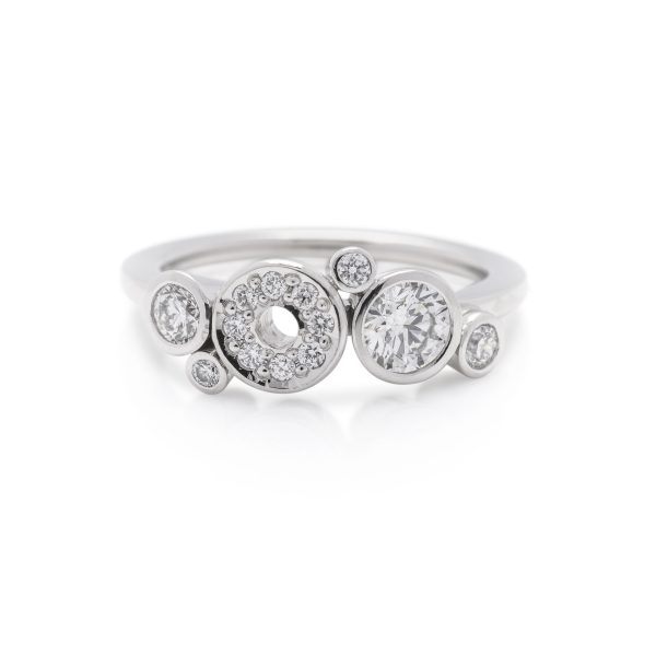 Single band diamond dress ring made in platinum from the cabonated collection