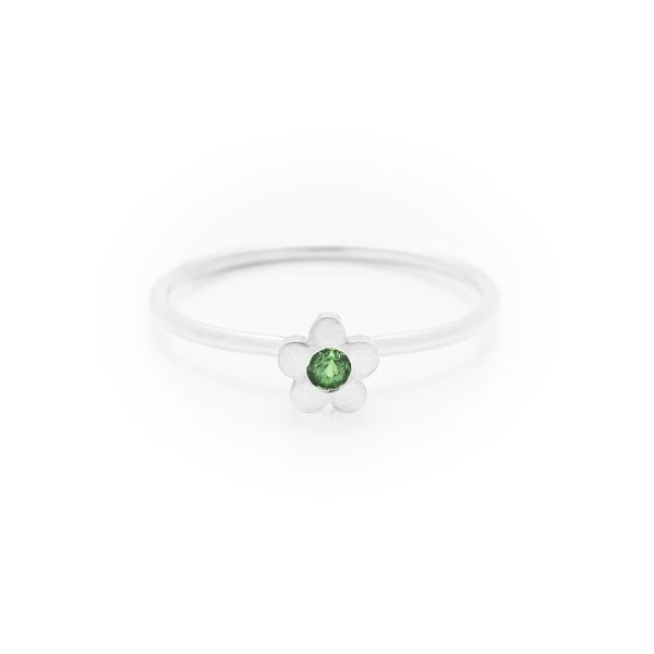 Tsavorite garnet baby flower dress ring made in 18ct white gold. From our flowers collection