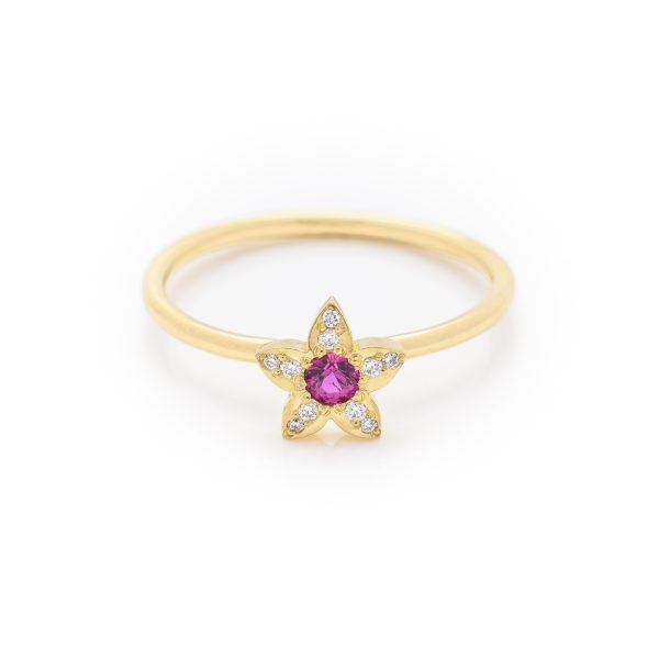 diamond and pink sapphire dress ring made in 18ct yellow gold. From our flowers collection