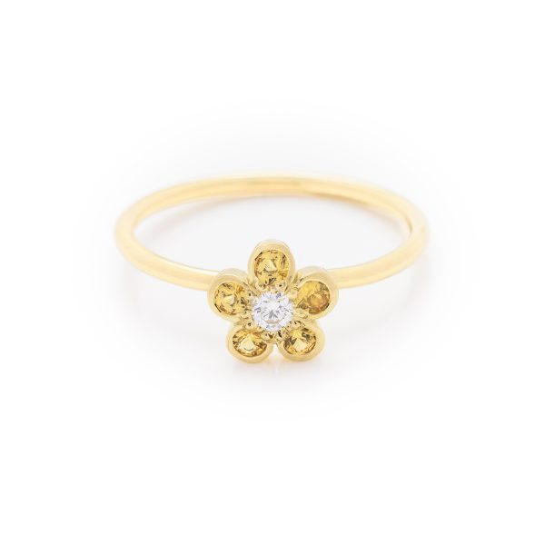 diamond and yellow sapphire dress ring made in 18ct yellow gold. From our flowers collection