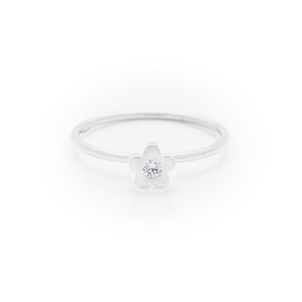 diamond baby flower dress ring made in 18ct white gold. From our flowers collection