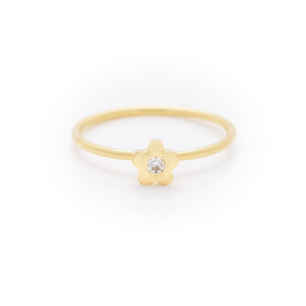 diamond baby flower dress ring made in 18ct yellow gold. From our flowers collection