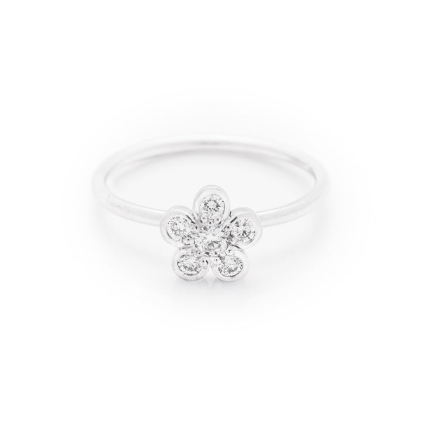 diamond dress ring made in 18ct white gold. From our flowers collection
