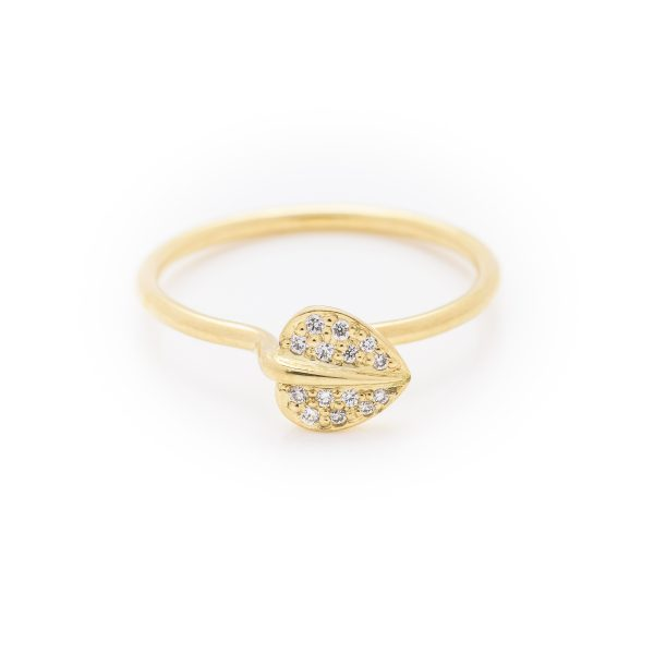 diamond set leaf dress ring made in 18ct yellow gold. From our flowers collection