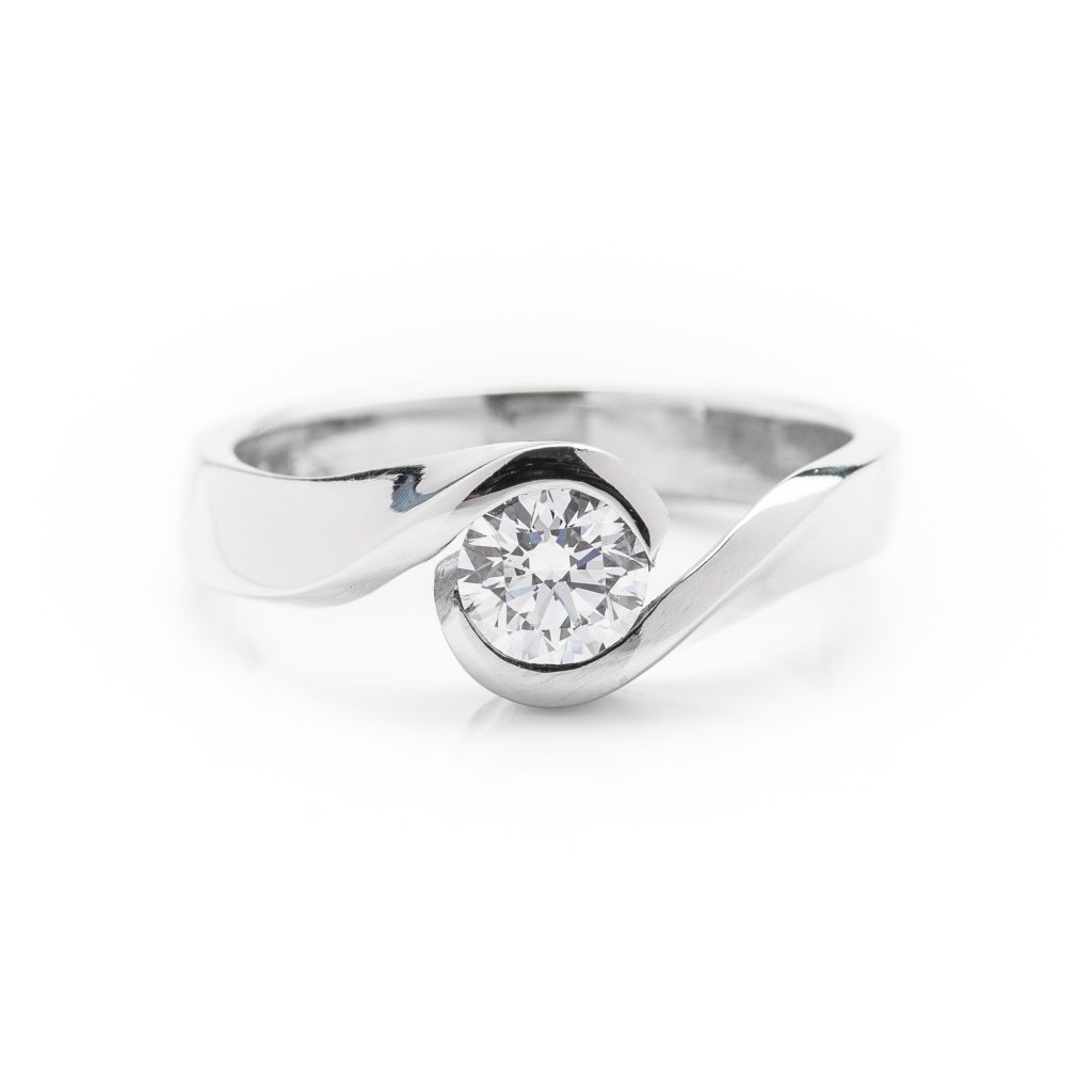 modern platinum single stone diamond engagement ring