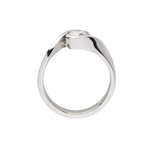 modern platinum single stone diamond engagement ring - side view