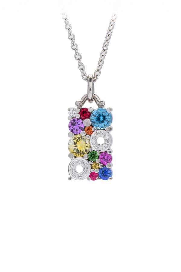 multi coloured cabonated pendant made in 18ct white gold