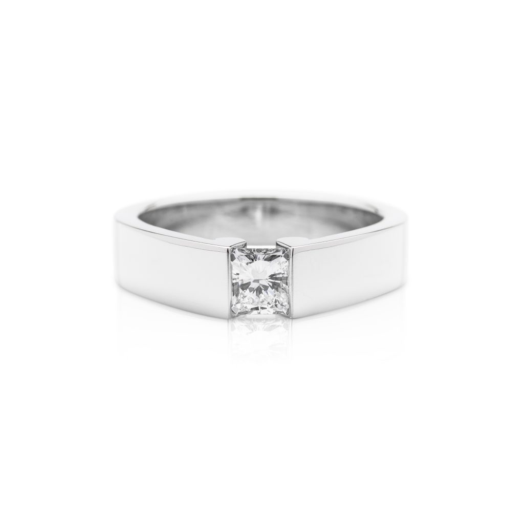platinum square emerald cut diamond engagement ring from the life ring collection